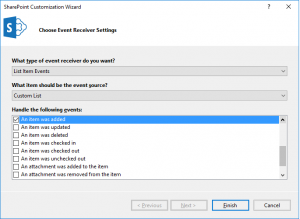 Choose Event receiver settings