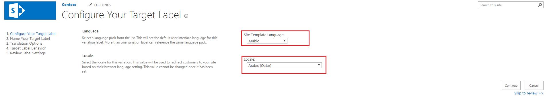 Configure target Label
