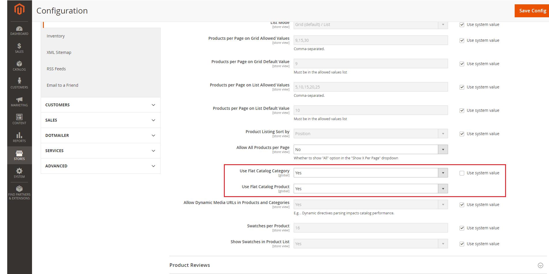 Flat catalog Categories