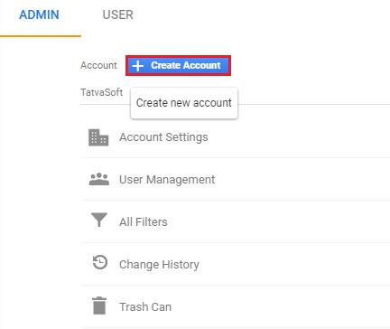 Create account in Google Analytics