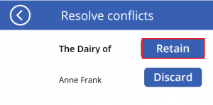 Conflict resolution screen