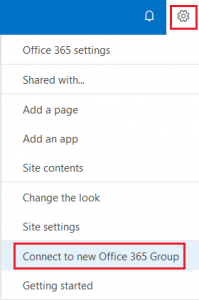 Connect to new Office 365 Group