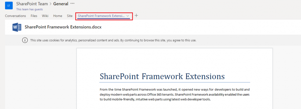 Sharepoint framework extension