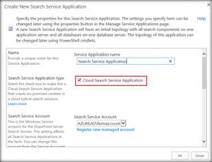 create new search service application