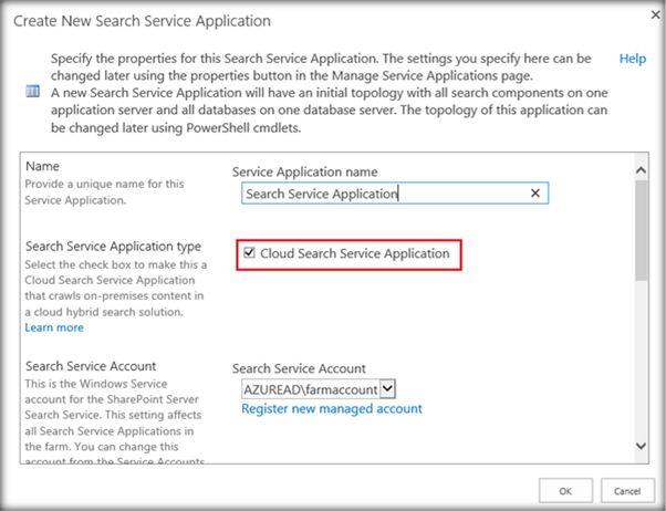 create new search service application