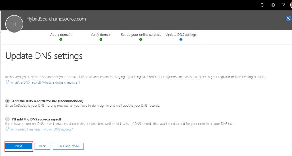 update dns settings